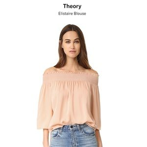 Theory Elistaire Off-the-Shoulder Silk Top